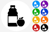 Apple Juice Icon on Flat Color Circle Buttons