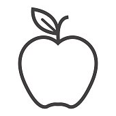Apple line icon, food and fruit, vector graphics, a linear pattern on a white background, eps 10.