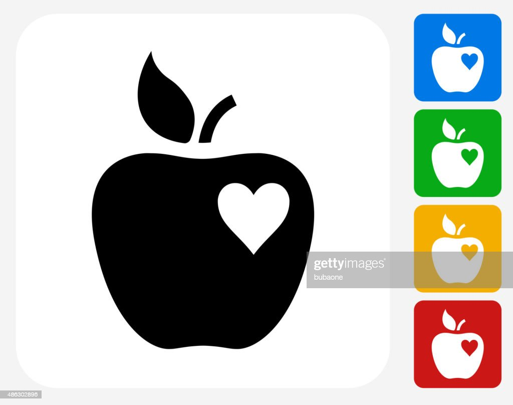 Apple Love Icon Flat Graphic Design