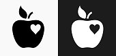 Apple Love Icon on Black and White Vector Backgrounds