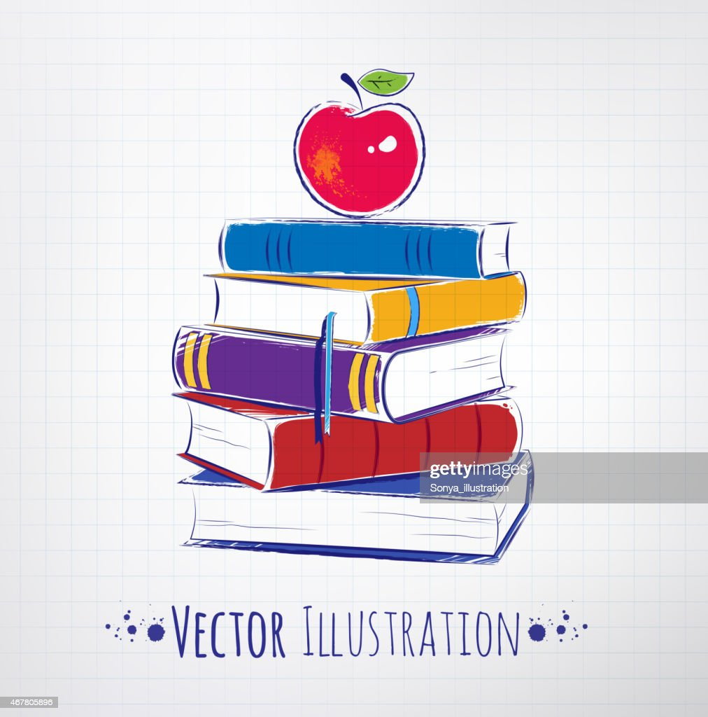Apple on a pile of books.