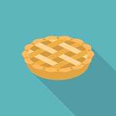 Apple or pumpkin pie in flat design