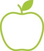 Apple outline icon, modern minimal flat design style vector symbol