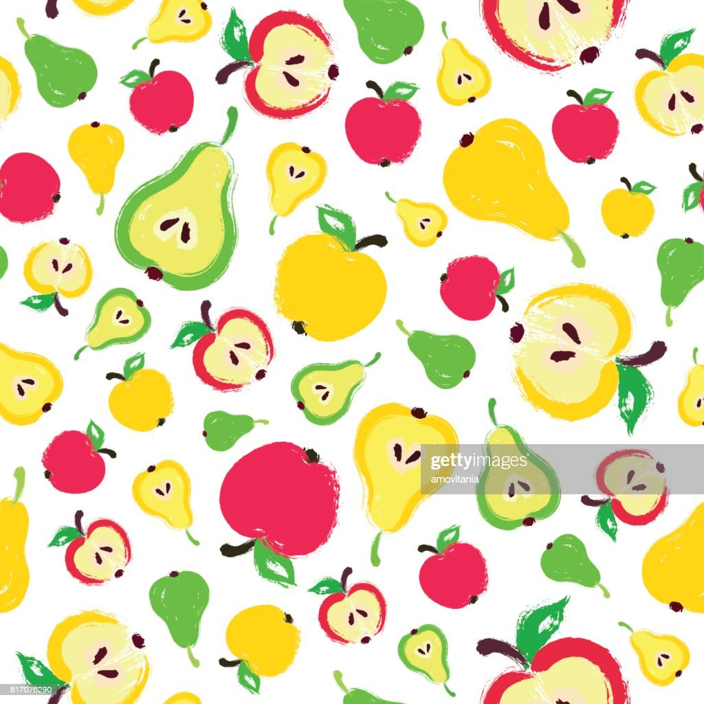 Apple Pear Background Painted Pattern