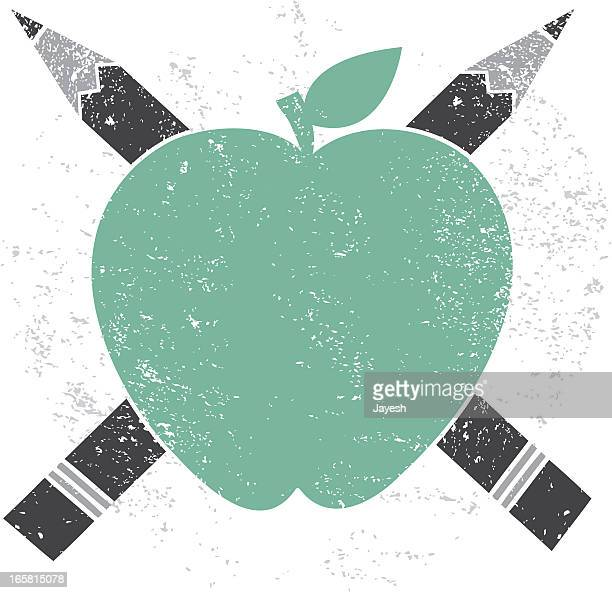 apple pencil cross education icon - woodcut stock illustrations
