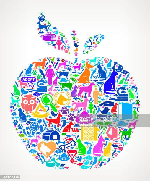 apple pets and animals vector icon background - pet equipment stock illustrations, clip art, cartoons, & icons