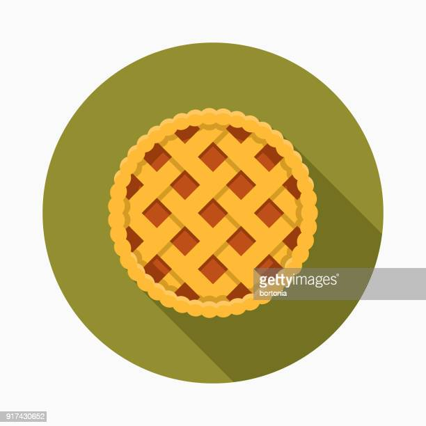 apple pie flat design thanksgiving icon - pastry dough stock illustrations, clip art, cartoons, & icons
