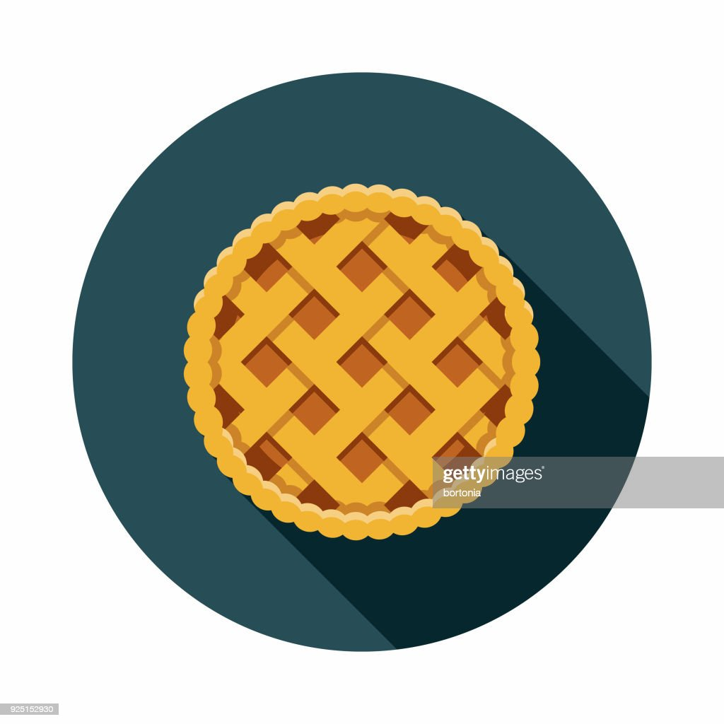 Apple Pie Flat Design USA Icon with Side Shadow