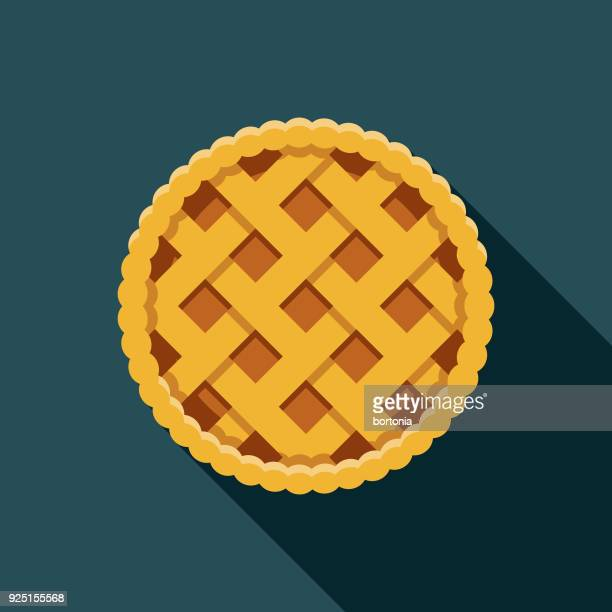 apple pie flat design usa icon with side shadow - pastry lattice stock illustrations, clip art, cartoons, & icons