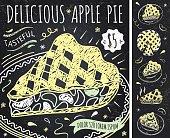 Apple Pie hand drawn banner on chalkboard + tart illustrations set. Retro label