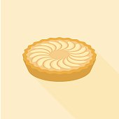 Apple pie in flat design with long shadow