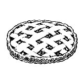 Apple Pie Sketch Icon. Homemade Cake Hand Drawn Vintage Vector Illustration Isolated
