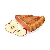 Apple pie slice with fresh red ripe fruits isolated on
