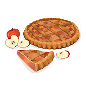 Apple pie with fruits, cut slice isolated. Traditional homemade tasty