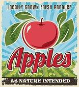 Apple retro vintage crate label design