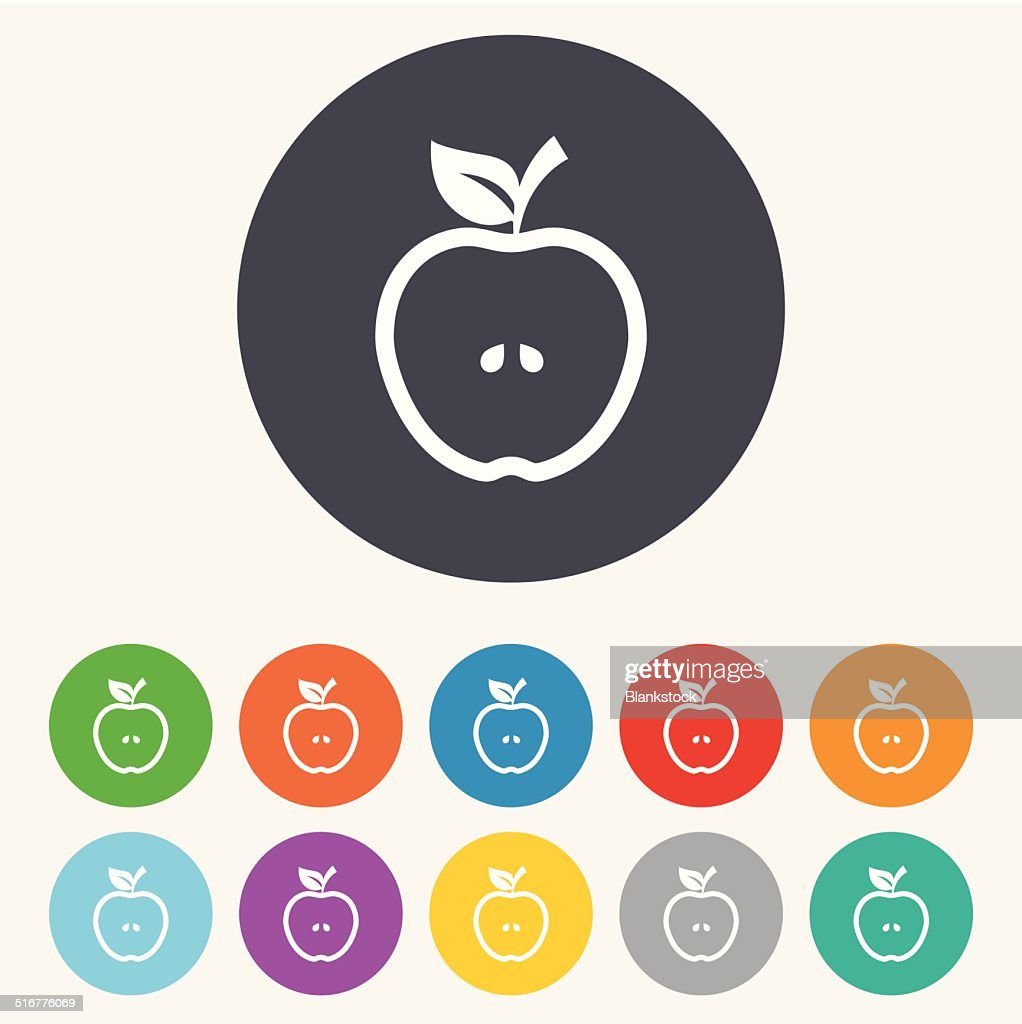 apple sign icon fruit with leaf symbol vector art | getty images