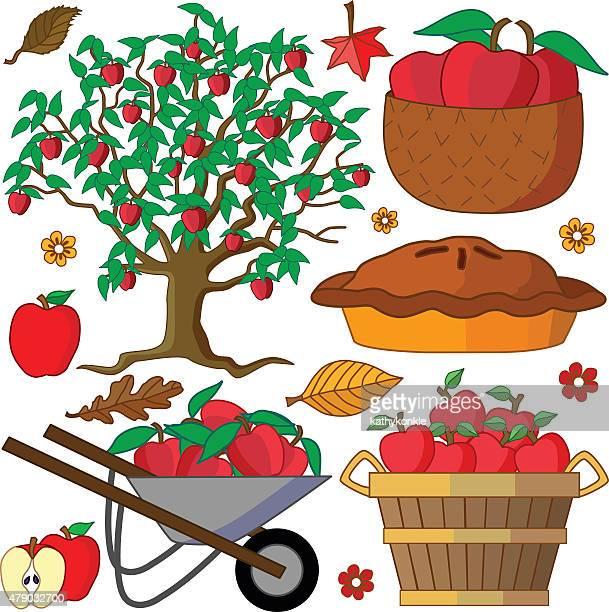 アップルツリーとリンゴデザイン要素