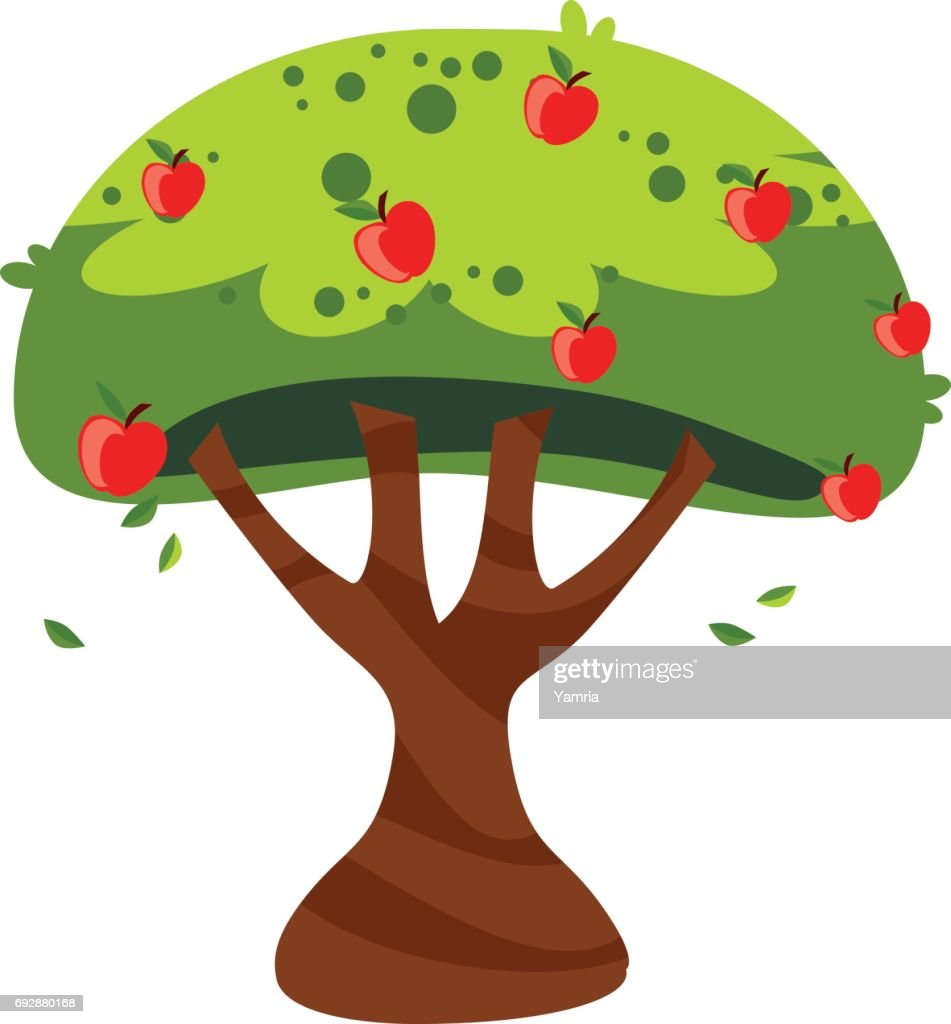 Apple tree - Cartoon style - Illustration