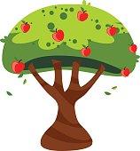 Apple tree - Cartoon style - Illustration