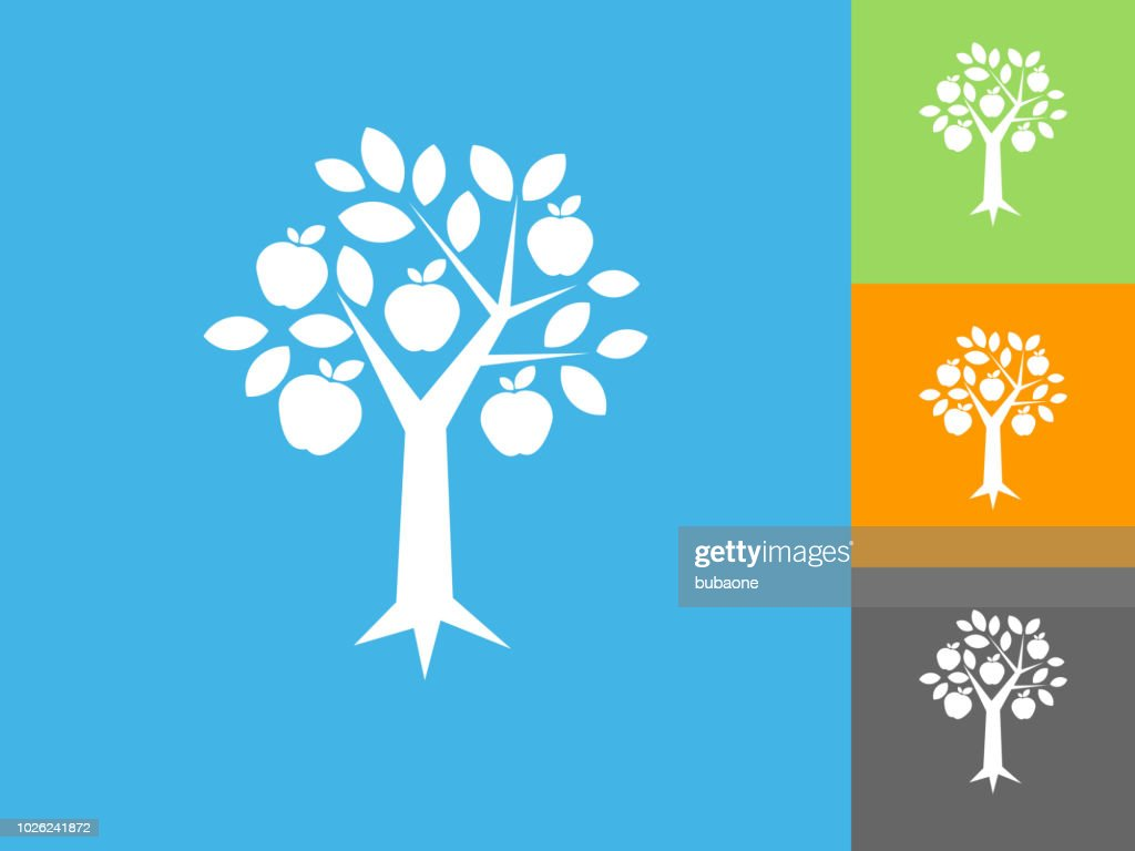 Apple Tree  Flat Icon on Blue Background
