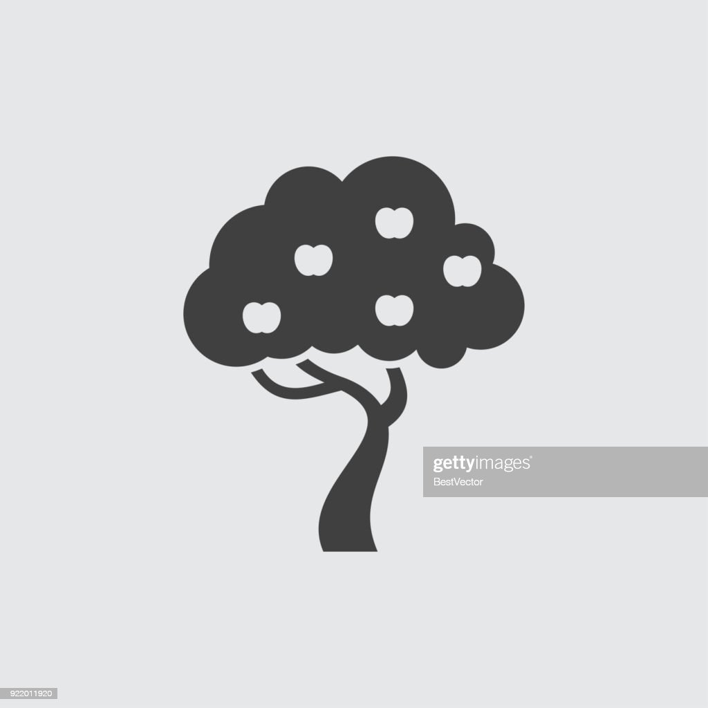 Apple tree icon illustration