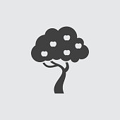 Apple tree icon illustration