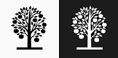 Apple Tree Icon on Black and White Vector Backgrounds
