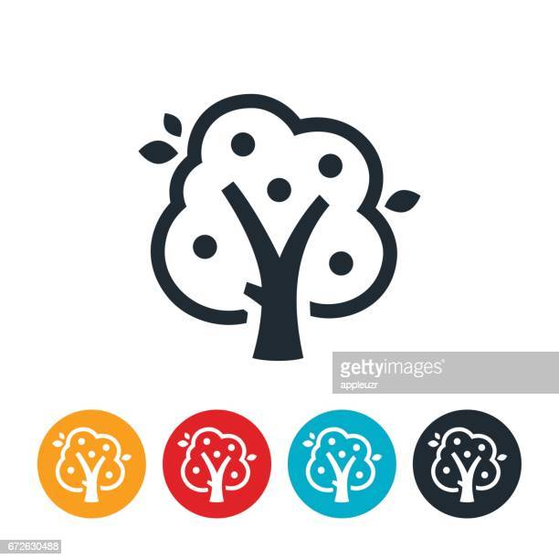 stockillustraties, clipart, cartoons en iconen met apple tree-pictogram - appelboom