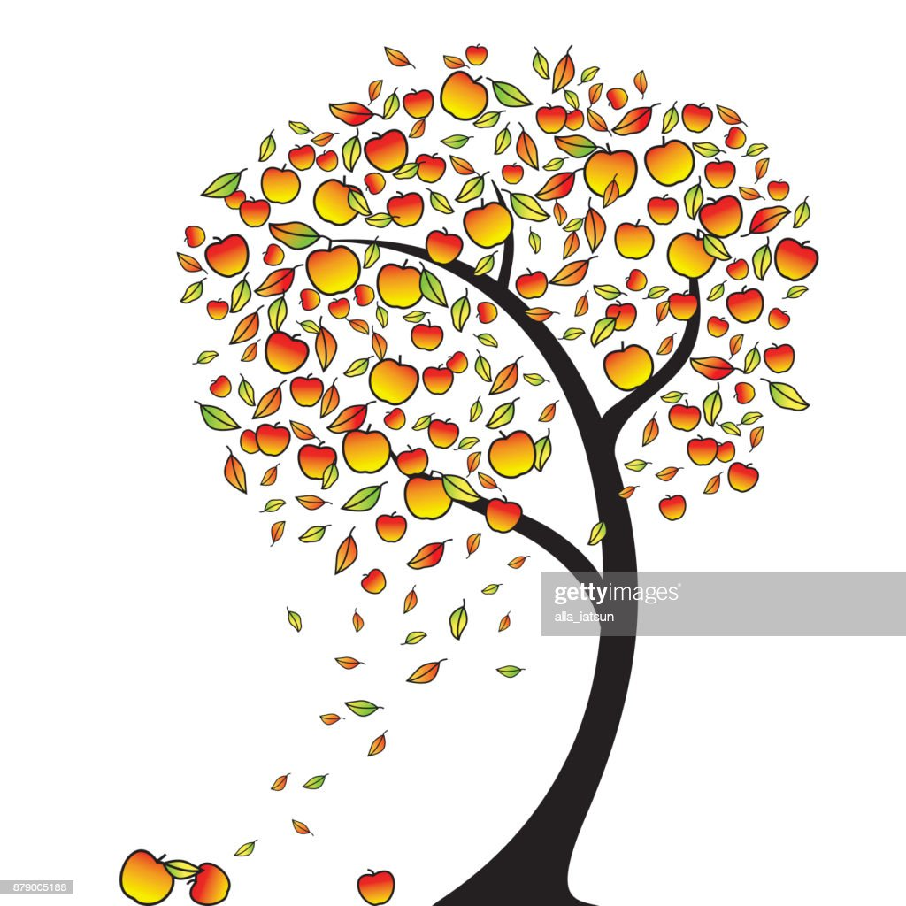 Apple tree in autumn. Leaves fly around in the wind, apples falling, vector illustration