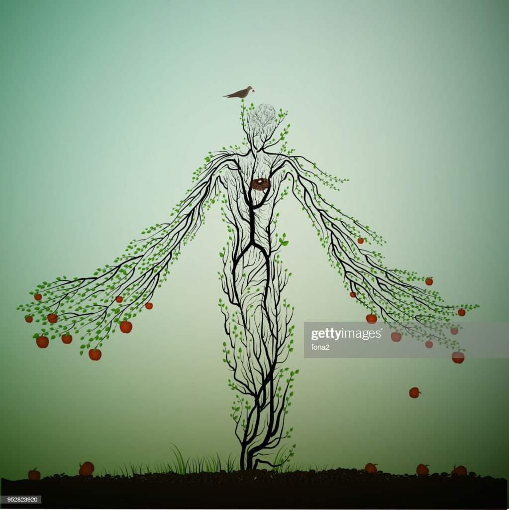 apple tree looks like a woman and stretching his hands ranches with red apples, magic apple tree character, dreamland or wonderland tree, plant alive,