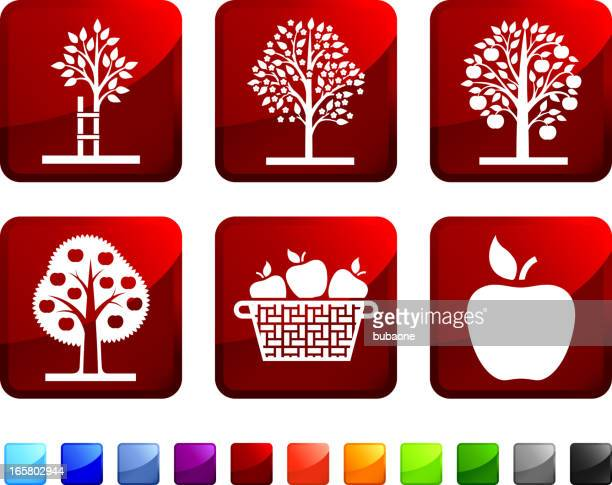 Apple Tree Picking royalty free vector icon set stickers