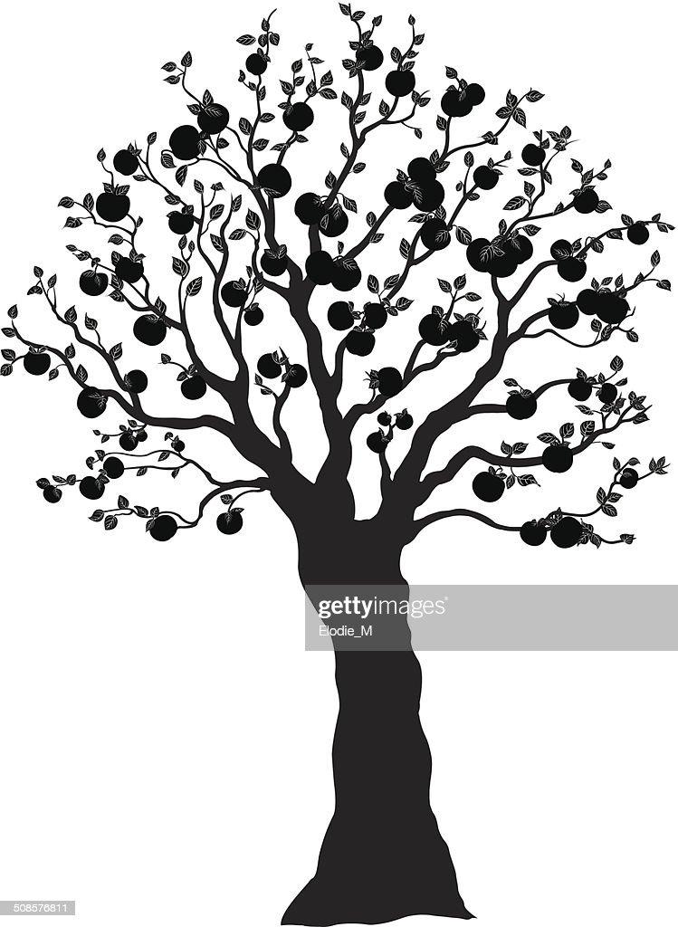 Apple tree silhouette / Pommier ombragé : Vector Art