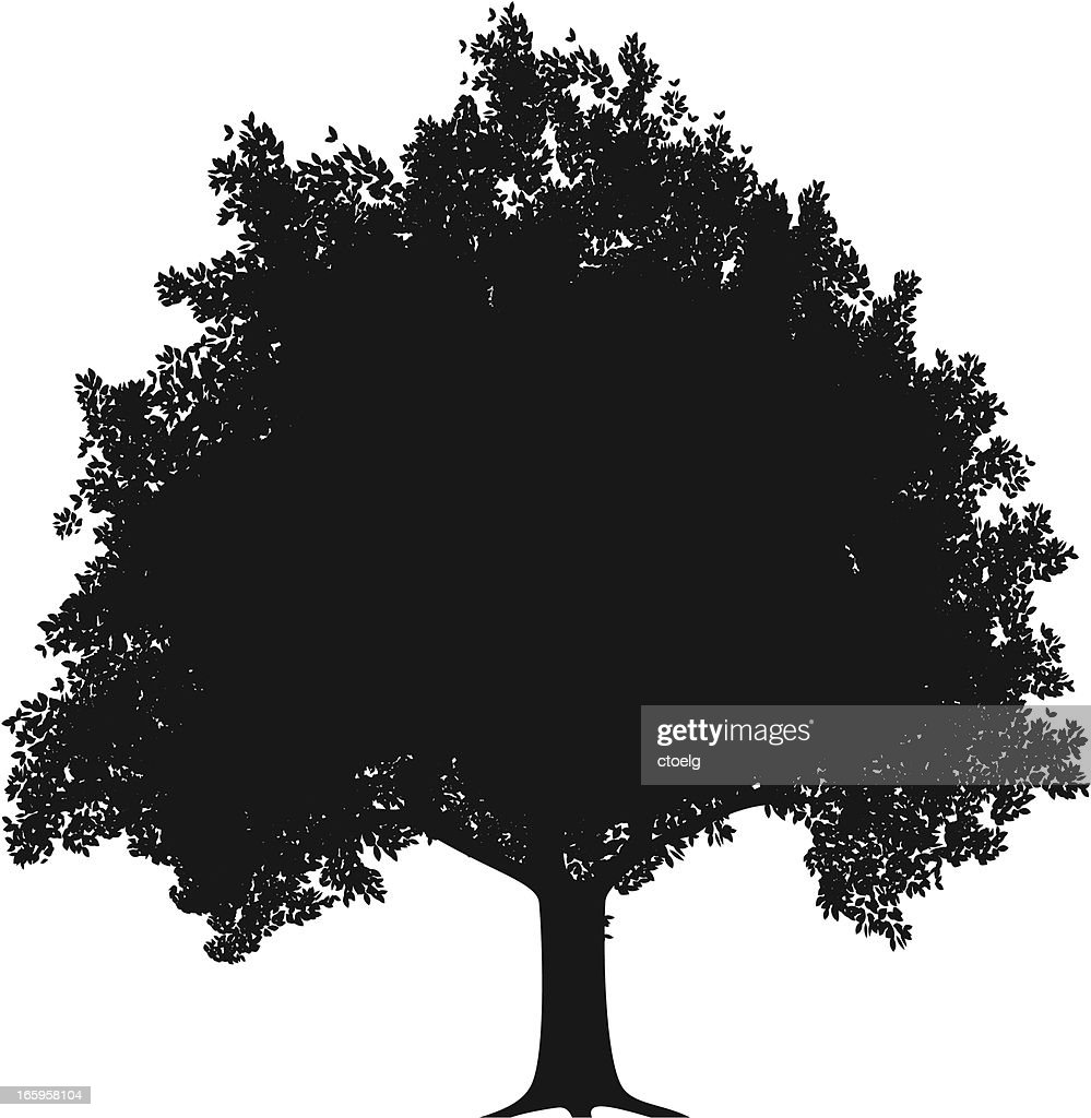 apple tree silhouette vector art