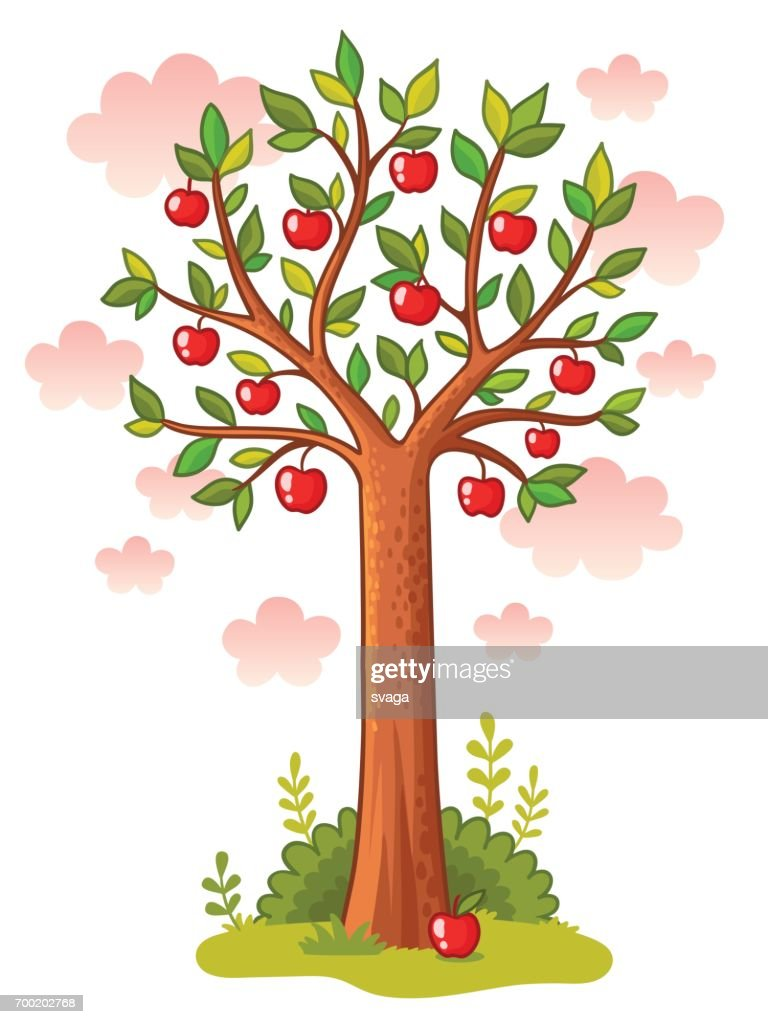 Apple tree stands in the meadow.