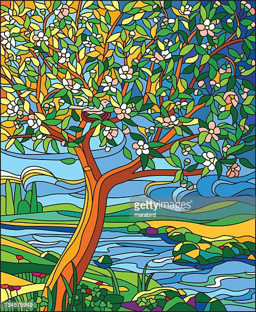 apple tree - stained glass stock illustrations