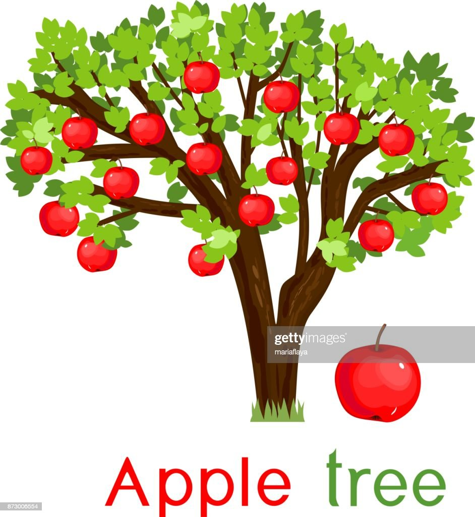 Apple tree with green leaves, ripe red fruits and title