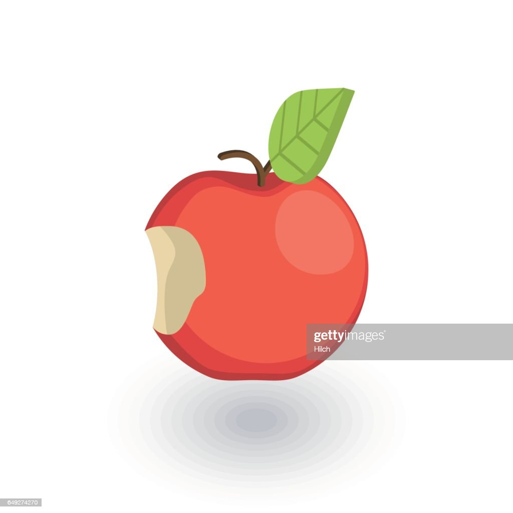 Apple with a bite isometric flat icon. 3d vector