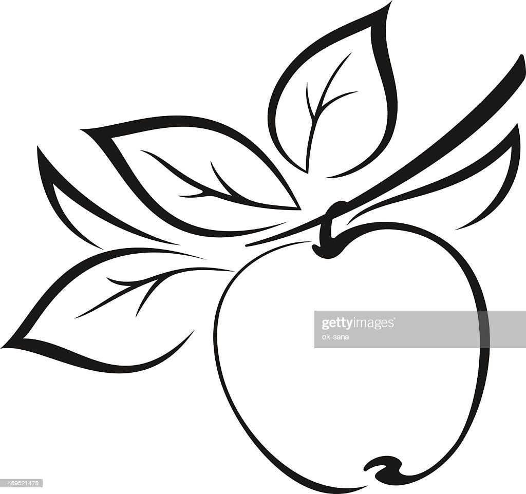 Apple with Leaves Black Pictogram