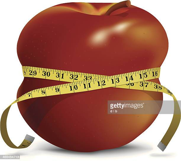apple with skinny waistline and tape measure - inch stock illustrations