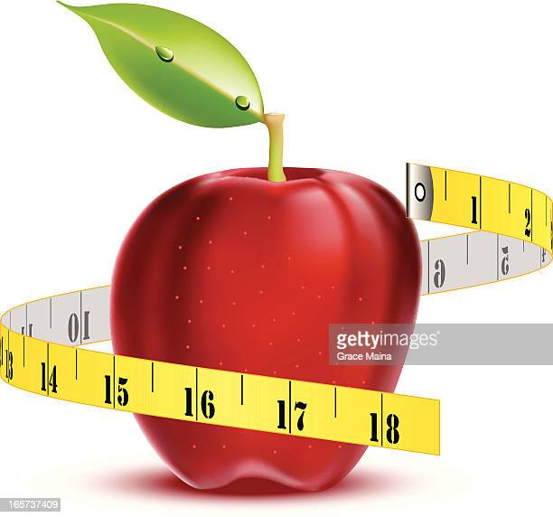 apple with tape measure - vector - letrac stock illustrations