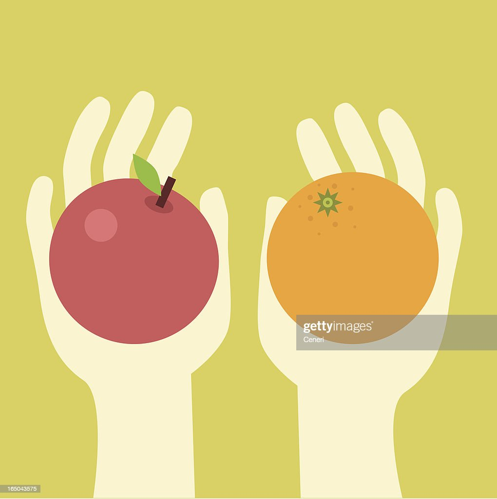 apples and oranges : stock illustration
