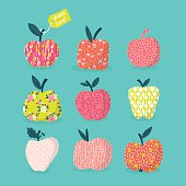 Apples design with pattern for Jewish New Year Rosh Hashana