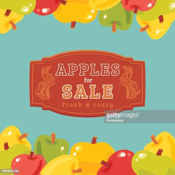 apples for sale - harvest festival stock illustrations