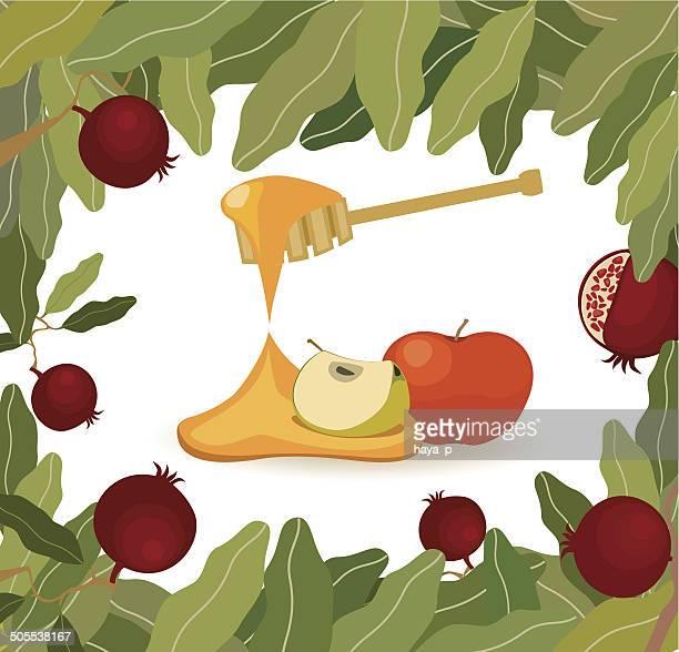 apples, honey, pomegranates frame - wailing wall stock illustrations, clip art, cartoons, & icons