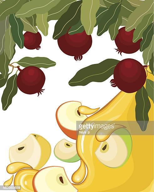 apples, honey, pomegranates - wailing wall stock illustrations, clip art, cartoons, & icons