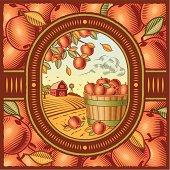 Apples in a barrel near a barn on an apple motif background