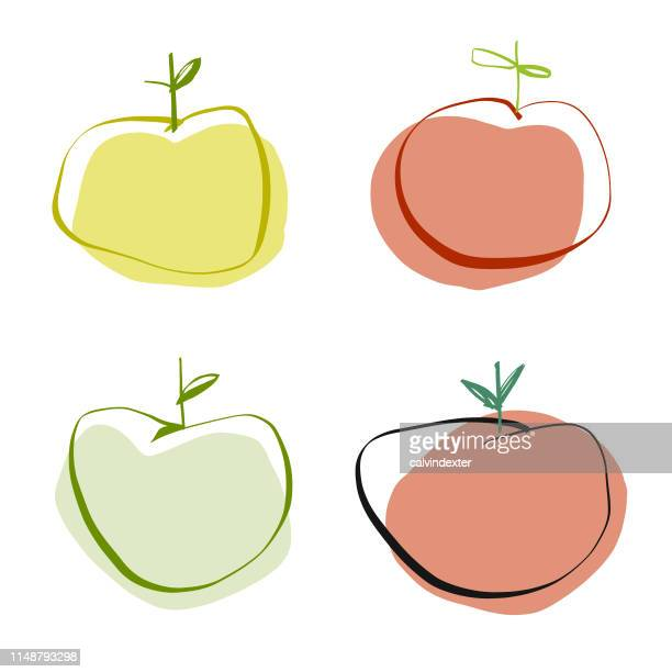 ilustraciones, imágenes clip art, dibujos animados e iconos de stock de dibujos a lápiz de manzanas - manzana
