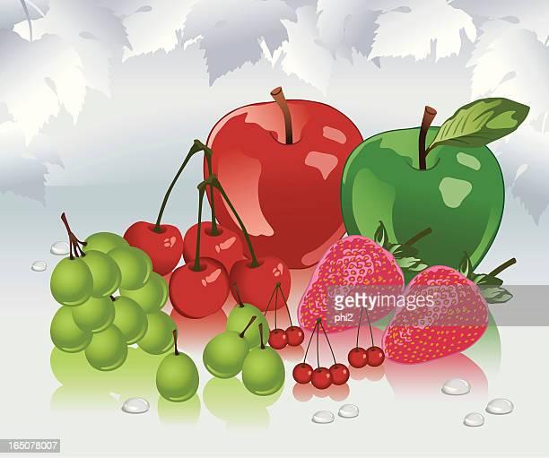 Apples, Strawberries, Grapes, Cherries and Berries Fresh Fruits Vector