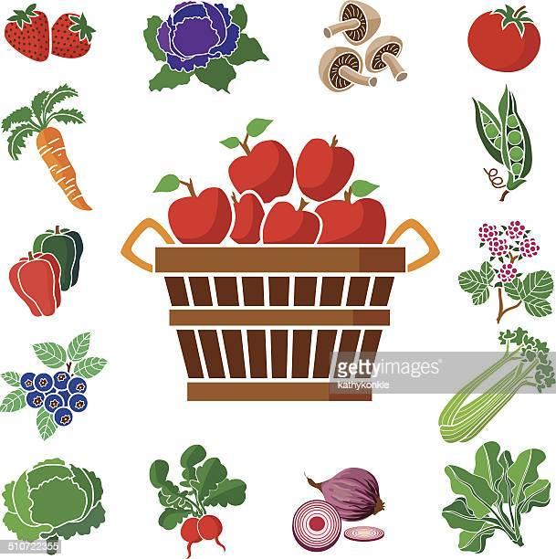 Manzanas con frutas y verduras square frontera