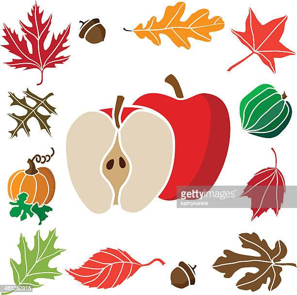apples with an autumn icon border